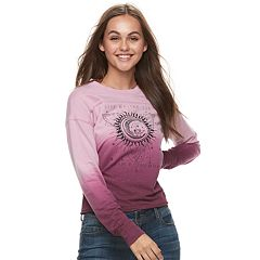 Juniors' 'Live By The Sun, Dream By The Moon' Dip-Dye French Terry Top