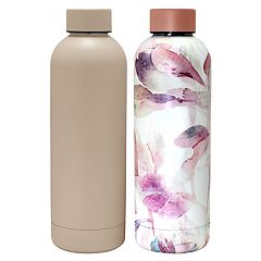 Wellness Double-Wall Stainless Steel Round Vaccuum Water Bottle 2-pack