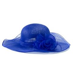 Women's Scala Sinamay Sun Hat with Organza Floral Accent