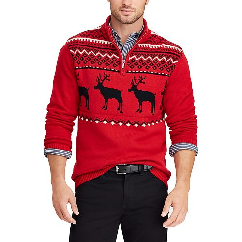 Men's Chaps Classic-Fit Moose Quarter-Zip Sweater