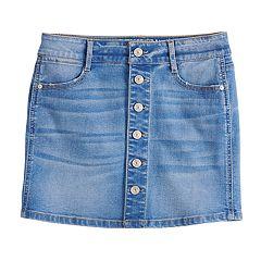 Girls 7-16 Rewash Button Front Denim Skirt