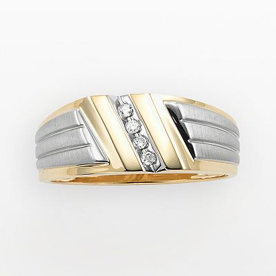 10k Gold Two Tone Round Cut Diamond Accent Ring - Men