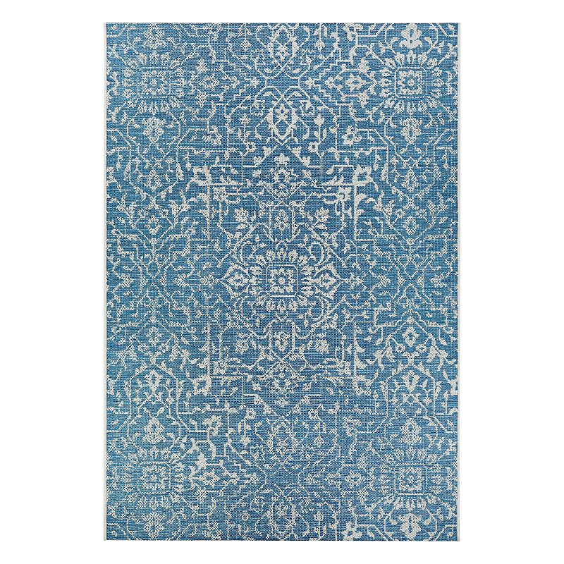 Couristan Monte Carlo Palmette Floral Indoor Outdoor Rug, Blue, 8.5X13 Ft Product Image