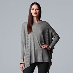 Women's Simply Vera Vera Wang Cable Knit Poncho Sweater