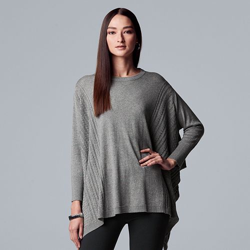 Womens Simply Vera Vera Wang Cable Knit Poncho Sweater