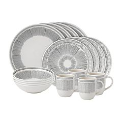 ED Ellen DeGeneres Crafted By Royal Doulton Charcoal Grey Lines 16-piece Dinnerware Set