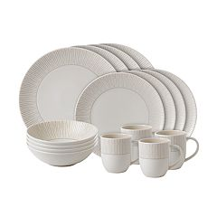 ED Ellen DeGeneres Crafted By Royal Doulton Taupe Stripe 16-piece Dinnerware Set