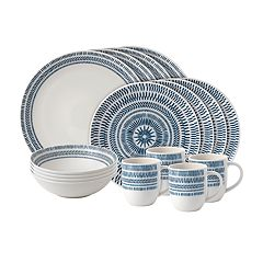 ED Ellen DeGeneres Crafted By Royal Doulton Cobalt Blue Chevron 16-piece Dinnerware Set