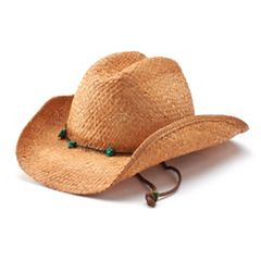 Women's Scala Raffia Western Cowboy Hat with Chin Cord