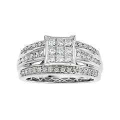10k White Gold 1 Carat T.W. Diamond Cluster Enagagment Ring