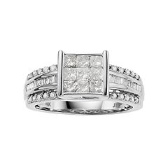 10k White Gold 1 Carat T.W. Invisible Set Diamond Engagement Ring