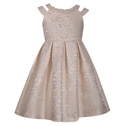 Girls 7-16 Bonnie Jean Sleeveless Rose Brocade Pleated Skirt Dress