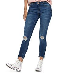 Juniors' Almost Famous Mid-Rise Destructed Zip Hem Ankle Skinny Jeans