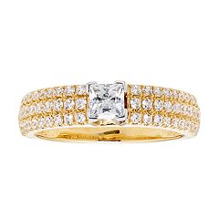 14k Gold 1 Carat T.W. IGL Certified Diamond Princess Cut Engagement Ring