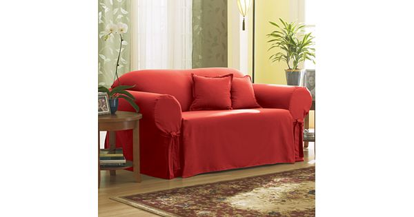 Coupons For Walmart Furniture: Sure Fit Solid Duck Cloth Loveseat Slipcover