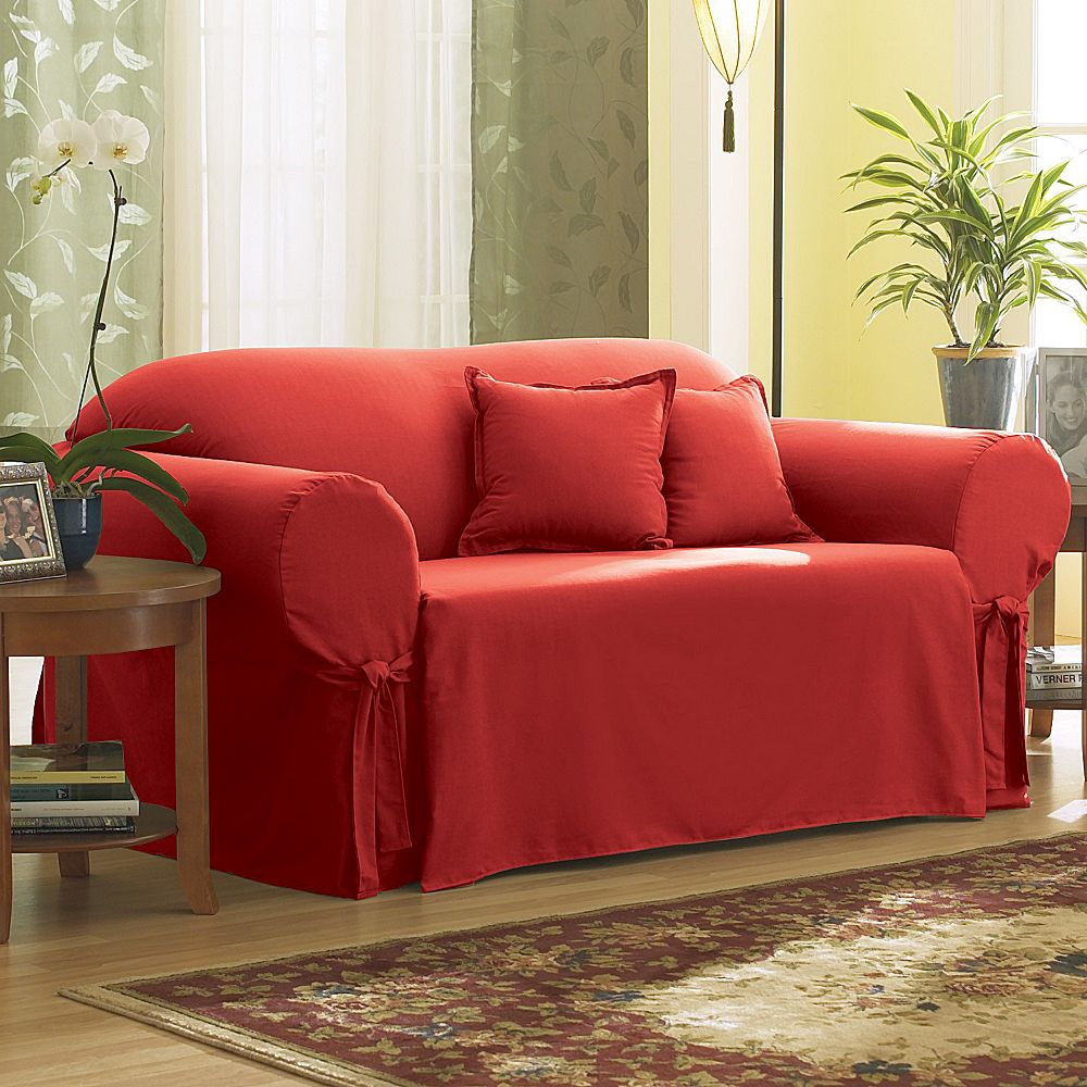 fit slipcover red twill sure slipcovers stretch burgundy loveseat pin