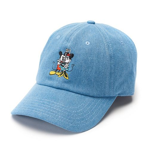84d436bb9bf0d Disney s Mickey   Minnie Mouse 90th Anniversary Women s Embroidered Denim Baseball  Cap