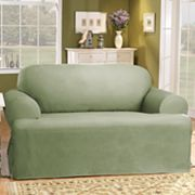 Sure Fit™ Solid Duck ClothT-Cushion Loveseat Slipcover