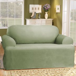 Sure Fit Solid Duck Cloth T-Cushion Loveseat Slipcover