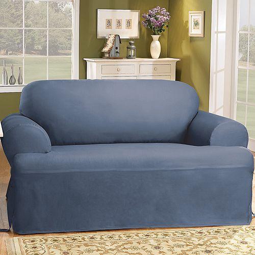Solid Duck Cloth T Cushion Sofa Slipcover