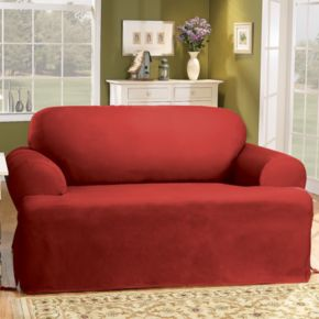 Sure Fit Solid Duck Cloth T-Cushion Sofa Slipcover