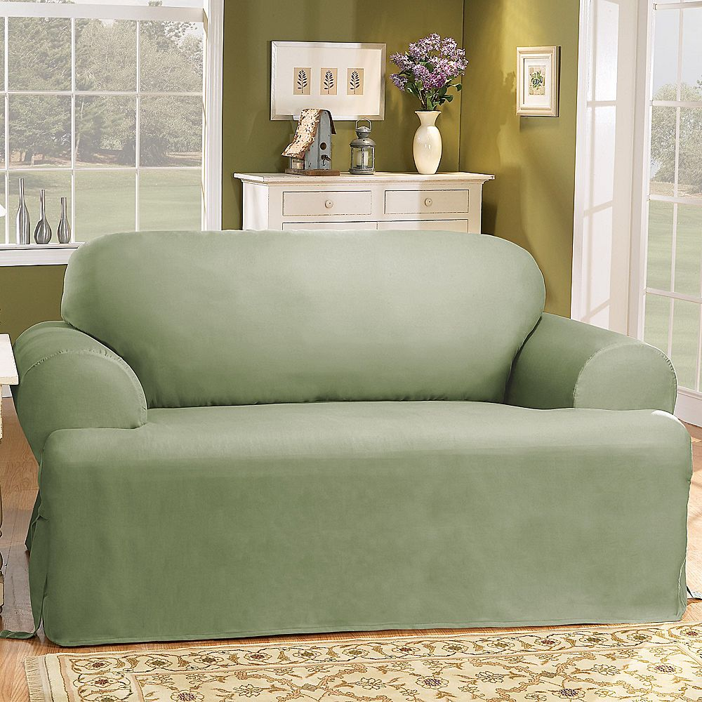 Sure Fit Solid Duck Clotht Cushion Sofa Slipcover