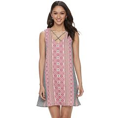Juniors' Lily Rose Cross Front Floral Shift Dress