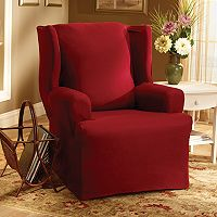 Sure Fit™ Solid Duck ClothWing Chair Slipcover