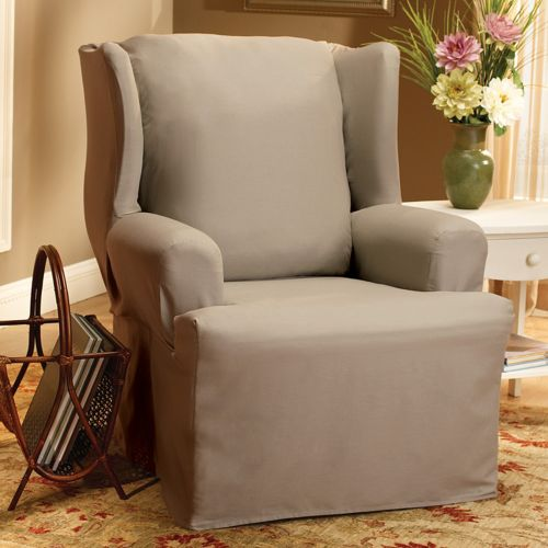 Sure Fit Solid Duck Cloth Wing Chair Slipcover