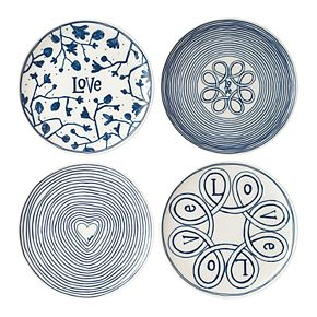 ED Ellen DeGeneres Crafted By Royal Doulton Blue Love 4-piece Plate Set