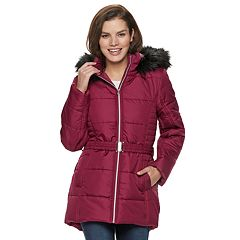 Women's Larry Levine Hooded Belted Puffer Coat