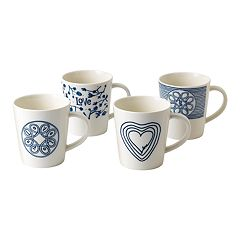 ED Ellen DeGeneres Crafted By Royal Doulton Blue Love 4-piece Mug Set