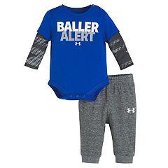 Baby Boy Under Armour 2-pc. 'Baller Alert' Mock Layer Bodysuit & Pants Set
