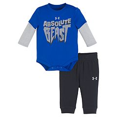 Baby Boy Under Armour 2-pc. 'Absolute Beast' Mock Layer Bodysuit & Pants Set