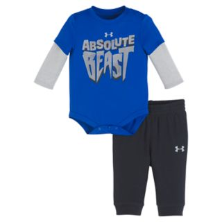 "Baby Boy Under Armour 2-pc. ""Absolute Beast"" Mock Layer Bodysuit & Pants Set"