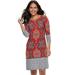 Petite Suite 7 Mixed Print Shift Dress