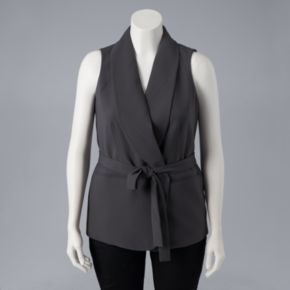 Plus Size Simply Vera Vera Wang Belted Woven Vest