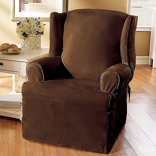 Sure Fit Faux Suede Wing Chair Slipcover