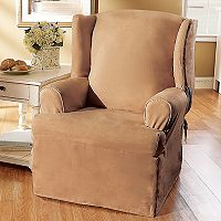 Sure Fit Faux-Suede Wing Chair Slipcover