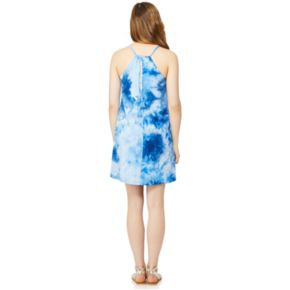 Juniors' Wallflower Tie-Dye Halter Tank Dress