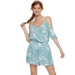 Juniors' Mudd® Printed Cold-Shoulder Romper
