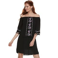 Juniors' Love, Fire Embroidered Off-The-Shoulder Shift Dress