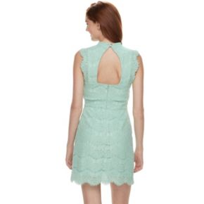 Juniors' Love, Fire Mockneck Lace Midi Dress