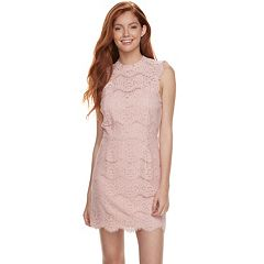 Juniors' Love, Fire Mockneck Lace Midi Dress