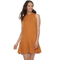 Juniors' Love, Fire Ribbed Mockneck Shift Dress