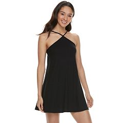 Juniors' Love, Fire Y-Neck Ribbed Swing Dress