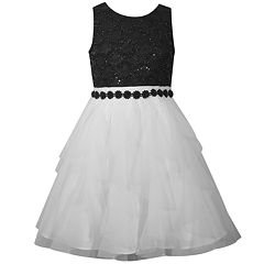 Girls 7-16 Bonnie Jean Sequined Lace Beaded Trim Party Dress