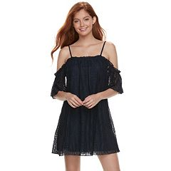 Juniors' Love, Fire Lace Off Shoulder Shift Dress