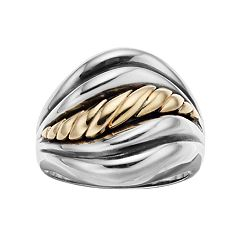 Two Tone Sterling Silver Rope Swirl Ring