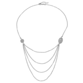 Sterling Silver Cubic Zirconia Mary Magdalene Swag Necklace
